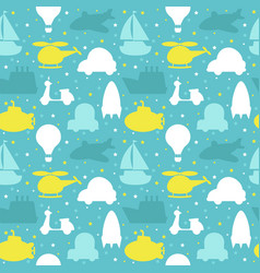 Seamless pattern with silhouette of transport vector