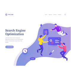 search engine optimization concept workflow flying vector image
