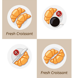 set croissants and plate icons vector image