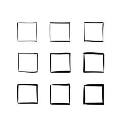 set hand-drawn squares vector image