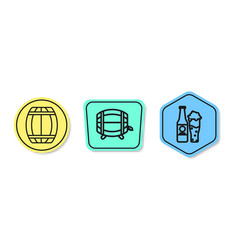 Set line wooden barrel wooden barrel on rack vector