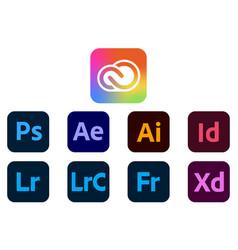 Set new icons adobe cc new brand system 2021 vector