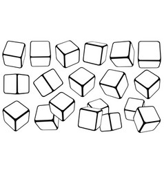 Set of cubes in different positions vector