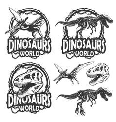 Set of dinosaurs world emblems vector