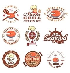 set of seafood labels vector image