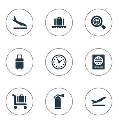 set simple plane icons vector image