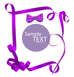 Shiny purple ribbon on white background with copy vector