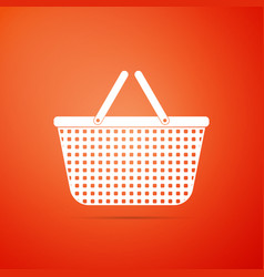 shopping basket icon isolated on orange background vector image