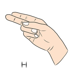 Sign language and the alphabetThe Letter h vector image