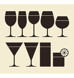 silhouette drinking glasses vector image