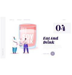 Soya products alternative beverage website landing vector