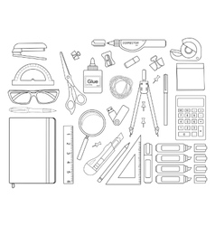 Stationery tools set Contour vector image
