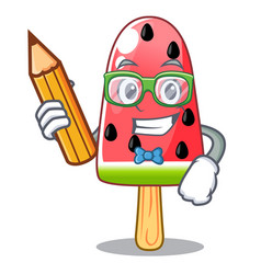 Student watermelon ice cream shaped wood character vector