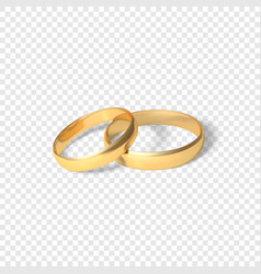 symbol of marriage couple of golden rings two vector image