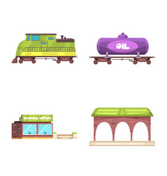 train and station logo set vector image