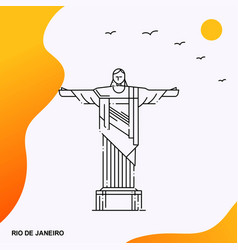 travel rio de janeiro poster template vector image