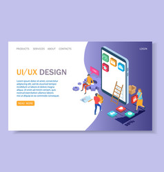 Ui and ux design website landing page vector