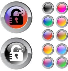 Unlock multicolor round button vector image vector image