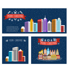 urban village christmas decorated vector image
