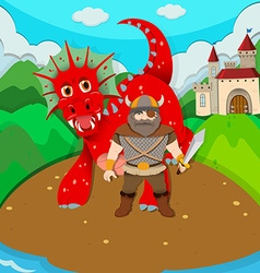 Viking and dragon on island vector image