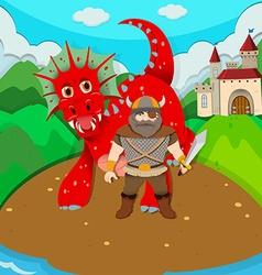 Viking and dragon on island vector