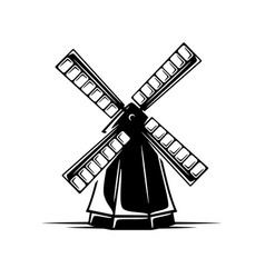 vintage windmill isolated on white background vector image