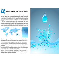 Water saving and conservation template vector