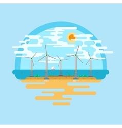 Wind generators sea flat vector