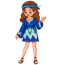 woman in blue hippie dress vector image