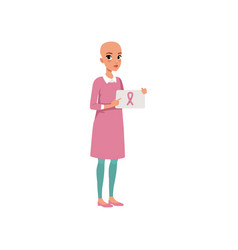young woman after chemotherapy holding sign with vector image
