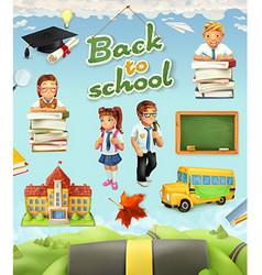 Back to school Education icon set Funny cartoon vector image vector image