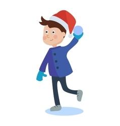 Christmas kid playing winter vector image