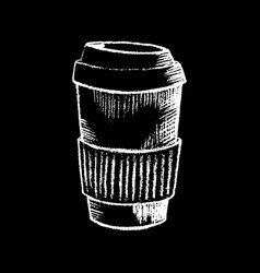 coffee paper cup white chalk on black chalkboard vector image vector image