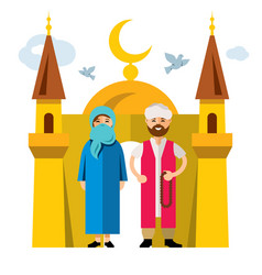 muslim family and islam flat style vector image vector image