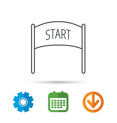 start banner icon marathon checkpoint sign vector image
