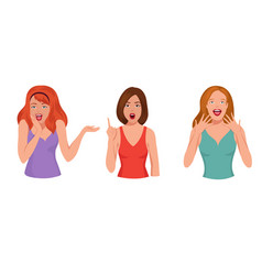 surprised pretty woman astonished laughing girl vector image