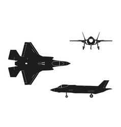 black silhouette of military aircraft vector image vector image