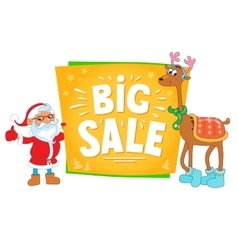 christmas sale design santa claus and deer with vector image