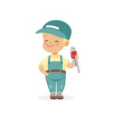 cute preschool boy dressed as plumber cartoon vector image