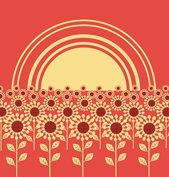 Field of sunflowers background vector image