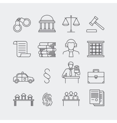Law and justice thin line icons vector