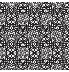 mandala lace dense black seamless pattern vector image