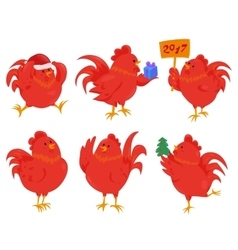 Set of cartoon chinese zodiac fire rooster vector image vector image