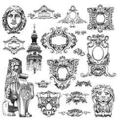 sketch calligraphic drawing of heraldic design vector image vector image