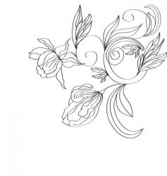 sketch with stylized flowers vector image