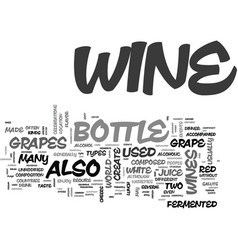 What is in a bottle of wine text word cloud vector