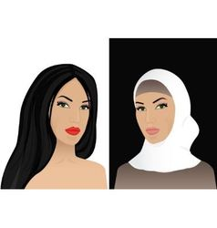 woman in hijab and without hijab vector image vector image