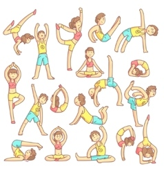 Couple Doing Yoga Poses vector image vector image