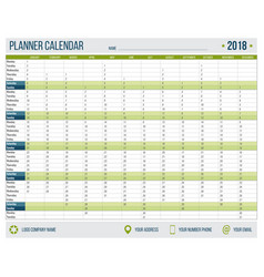 english calendar planner for year 2018 12 months vector image
