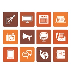 Flat Communication channels and Social Media icons vector image vector image